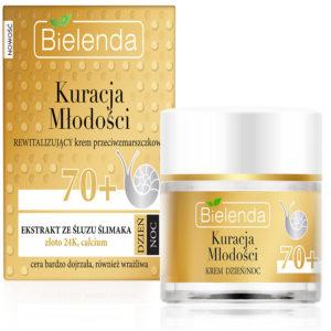 Bielenda Youth Therapy 70+ Крем дневной/ночной с муцином улитки, 24К золотом, кальцием против морщин восстанавливающий, 50 мл 59