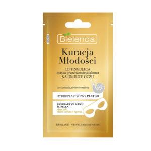 Bielenda Youth Therapy Маска тканевая под глаза против морщин с муцином улитки, 24К золотом, пептидами, подтягивающая, для зрелой кожи, 10 г 61