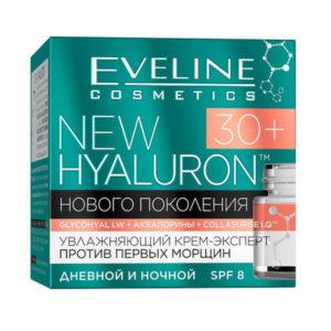 Eveline New Hyaluron 30+ Крем-эксперт Увлажняющий против первых морщин SPF 8 дневной и ночной, 50 мл 46