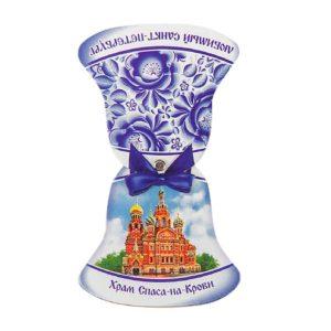 Магнит-колокольчик раздвижной Санкт-Петербург. Храм Спаса-на-Крови, картон 6.5 х 6.9 см 4