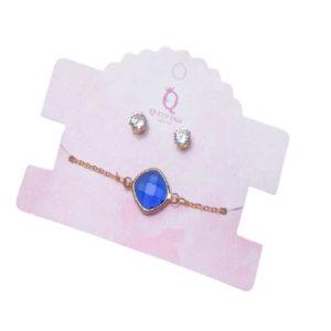 Queen Fair Набор Витраж бело-синий в золоте 2 предмета (пуссеты, браслет) 8