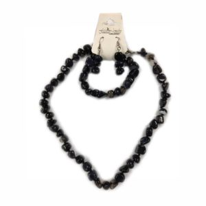 Fashion Jewelry Набор Агат полосатый 3 предмета (серьги, бусы, браслет) галтовка 3