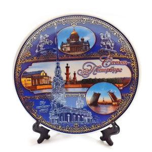 Тарелка декоративная керамическая Санкт-петербург 10 см, с подставкой 2