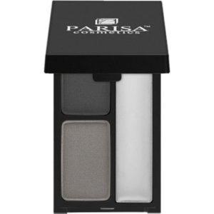 Parisa Тени для бровей двухцветные тон 01 чёрный + серый, 4 г 4