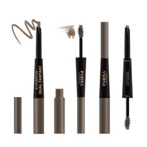 Parisa Карандаш механический + гель для бровей с щёточкой (пенал двухсторонний) Dual Fantasy Eyebrow Pencil-Gel, тон 02 светло-коричневый 11
