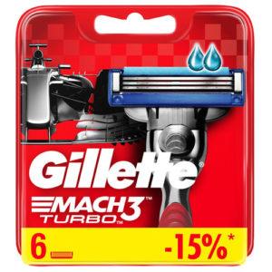 Gillette Mach3 Turbo Red Кассеты сменные для безопасных бритв (6 шт) 6
