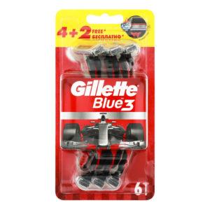 Gillette Blue 3 Red Бритвы одноразовые безопасные для мужчин, 3 лезвия + плавающая головка (4+2 шт) 4