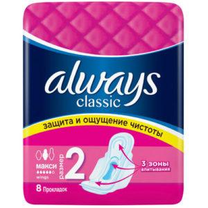 Always Classic Прокладки гигиенические женские Maxi (8 шт), размер 2 2